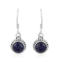 Lapis Lazuli Earring, 925 Silver Earring, Round Shape, Gemstone Dangle E... - $14.99