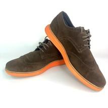Cole Haan Mens Lunargrand Oxford Shoes Sz 11.5 Brown Orange Suede Wingti... - $32.71