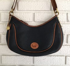 Vintage Dooney Bourke Blue Navy Leather Purse Cross Body Handbag Shoulder Bag - $98.95