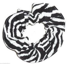 Zebra Hair Scrunchie Scrunchies by Sherry Ponytail Holder Black White Cotton - $6.99