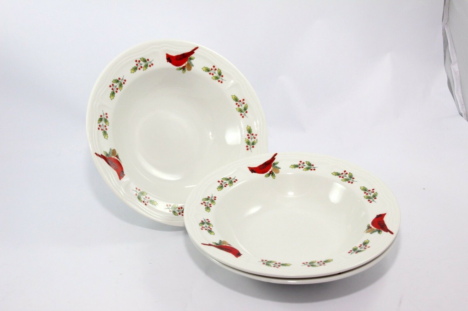 "Primary image for Gibson Winter Bird Holly Xmas Cardinal Holly Soup Cereal Bowls 8-3/4"" Set of 3"