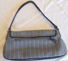 Small Gray Wool Blend Purse with Button, bead and Feather Embellishments image 4