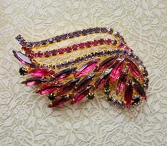 Truly Vintage Pink & Purple Rhinestone Pin/Brooch Elegant - $26.73