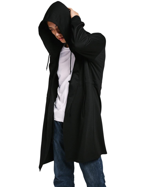 Men Winter Autumn Spring Hooded Cloak Cape Cardigan Hoodie Jacket Coat (Size: XL