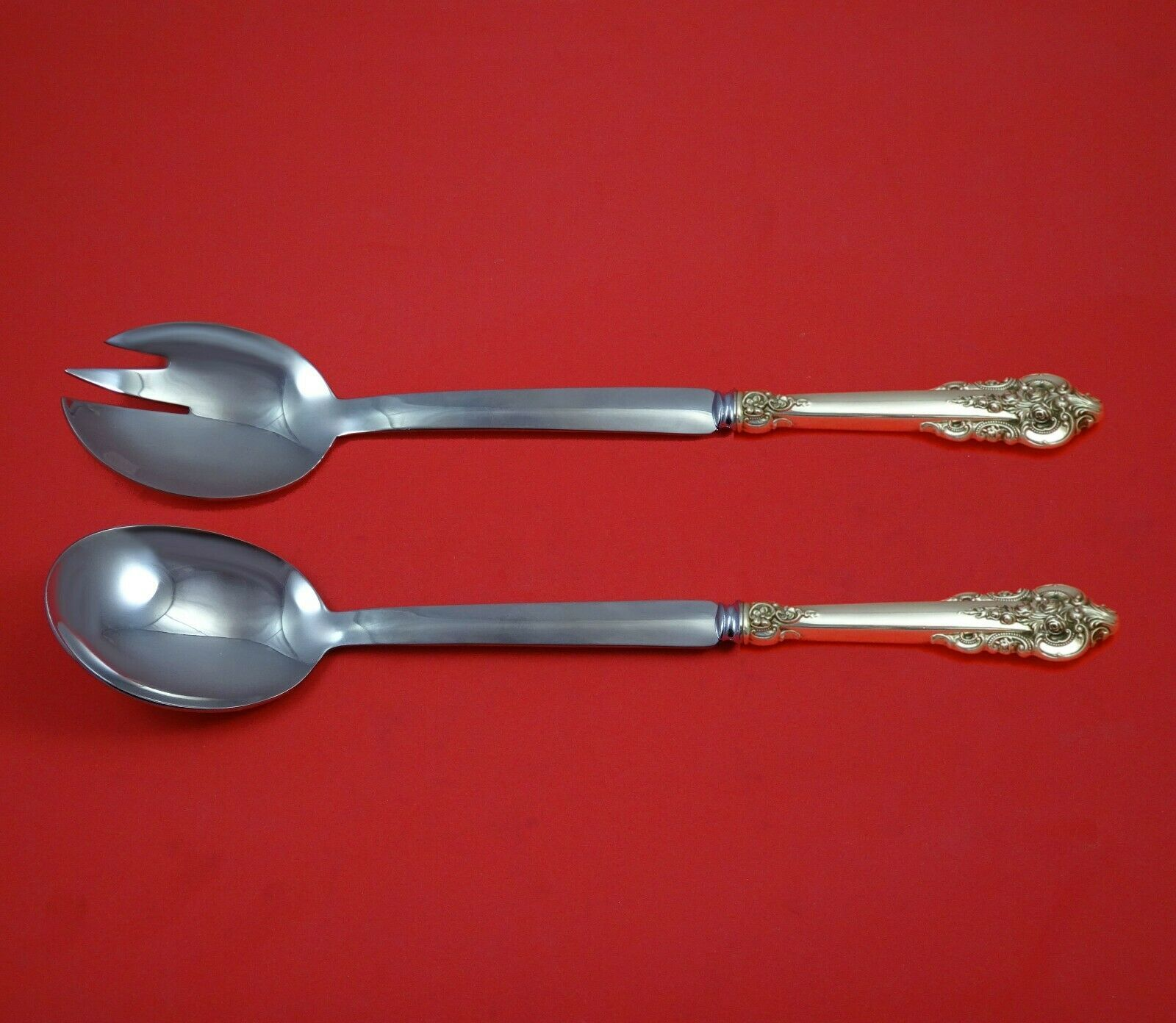 Primary image for Grande Baroque by Wallace Sterling Silver Salad Serving Set Modern Custom Made