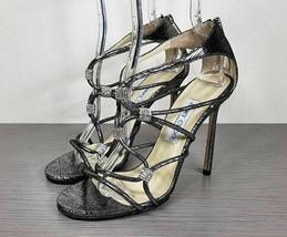 Jimmy Choo 'Tetrus' Sandal, Metallic Snake-embossed Leather, Womens Size... - $277.19