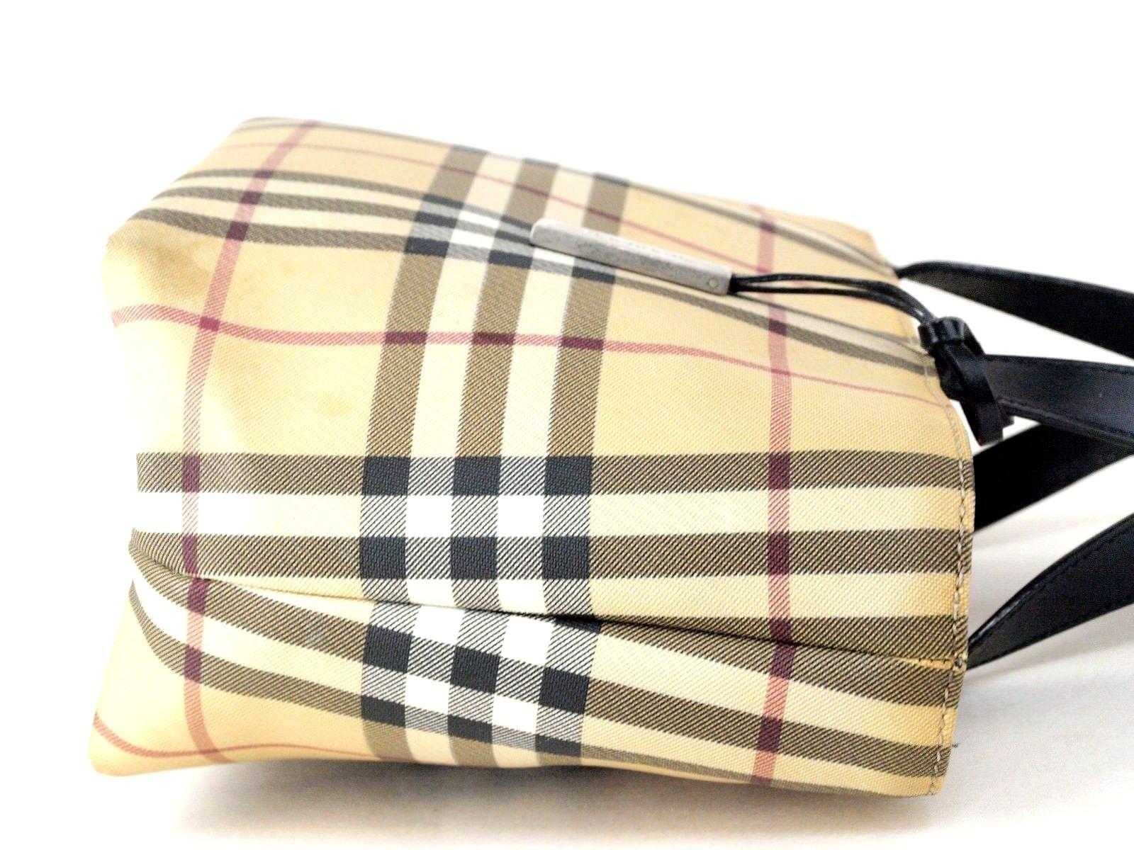 c90ccfc9bca2 Authentic Burberry London Nova Check PVC Canvas   Leather Hand Bag Italy  Vintage