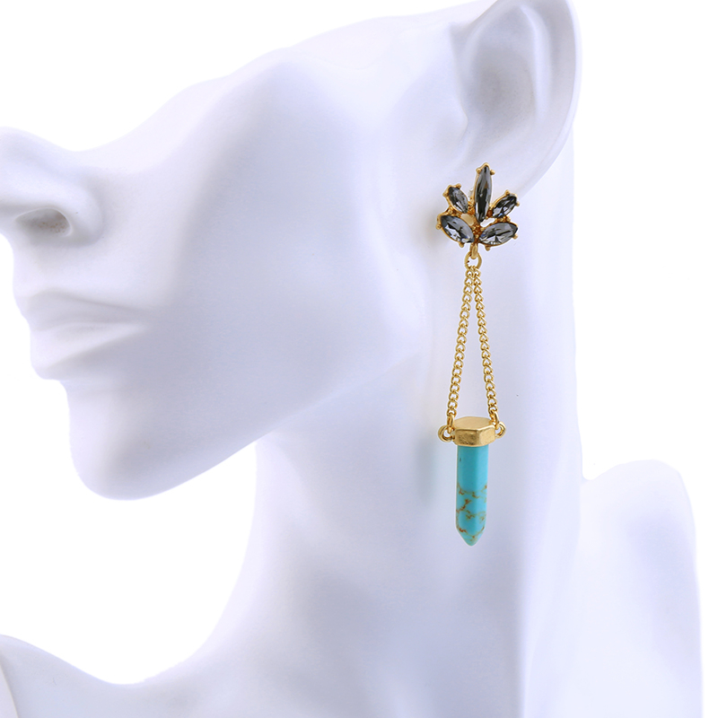 W arrival blue geometric drop earrings for women accessories antique gold color chain earrings 2