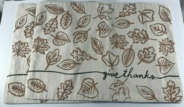Give Thanks Set of 2 Canvas Place Mats Gold Leaves Thanksgiving Fall Autumn - $5.93