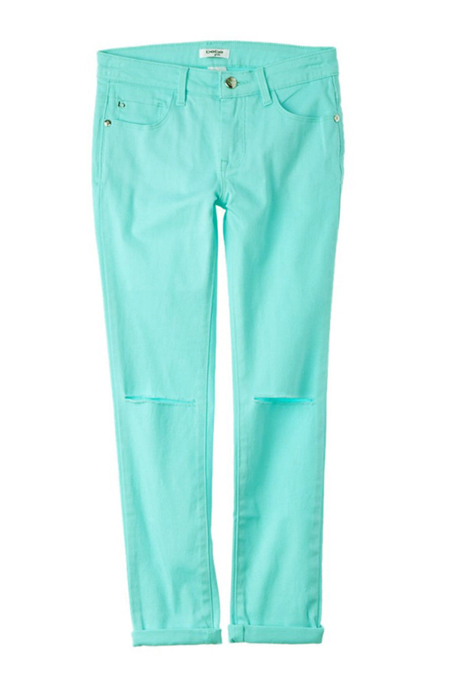 Primary image for NEW KIDS BEBE GIRLS ZIP FLY BLUE AQUA STRETCH DISTRESSED JEANS 7