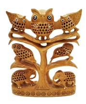 handmade undercut wooden Owl family on tree with elephant wood owl home ... - $218.69