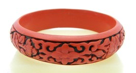 Vintage Faux Cinnabar Deep Carved Flower Bracelet  - $29.70