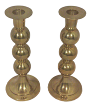 Modern Brass Stacked Spherical Candle Holders-A Pair - $225.00