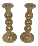 Modern Brass Stacked Spherical Candle Holders-A Pair - $125.00