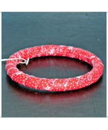 Narrow Red Bangle, Polkadot Fabric Bangle, Retro Fabric Wrapped Wooden B... - $10.00