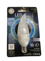 New GE LED Long Life CAC 500 Lumens soft white 60w 6.5w 1 bulb Frosted Dimmmable - $9.89