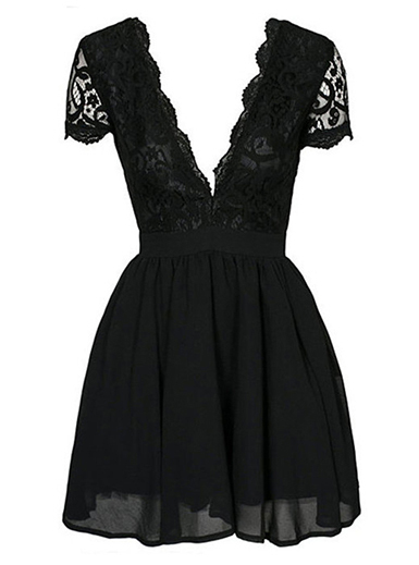 Black Lace / Chiffon / Deep Scalloped Neckline - Fit and Flare / Skater Dress image 4