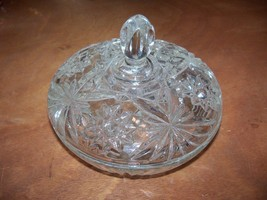 Vintage Clear Hobstar Glass Candy Bowl with Lid - $19.24