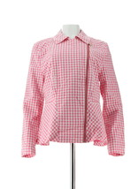 Isaac Mizrahi Gingham Peplum Motorcycle Jacket Bright Pink 14 NEW A288653 - $45.52