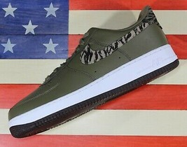 Nike Air Force 1 One Low AOP Basketball Shoes Olive-Green/White [AQ4131-... - $83.88