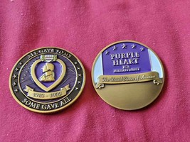 "PURPLE HEART FOR MILITARY MERIT 1.75"" CHALLENGE COIN - $18.04"