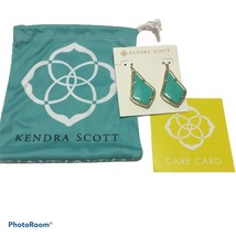 NWT Kendra Scott Alex Turquoise Drop earrings Gold Tone Pouch care card - $42.08