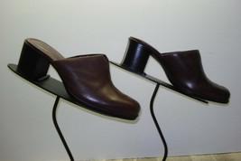 Women's CLARKS Brown Leather Heeled Slide Mules Sz 6.5M MINT! - $25.98