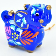 Handcrafted Painted Ceramic Blue Jolly Elephant Confetti Ornament Made in Peru