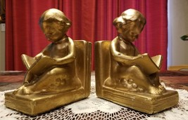 Vintage Chalkware Child Reading A Book Victorian Angelic Gold Bookends - $38.00