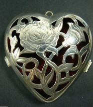LENOX Kirk Stieff  Silverplate Heart Floral filigree Red velvet box gift holder - $23.76