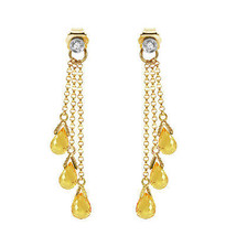 7.38 Carat 14K Solid Gold Chandelier Gemstone Earrings Diamond Citrine Womens - $308.21