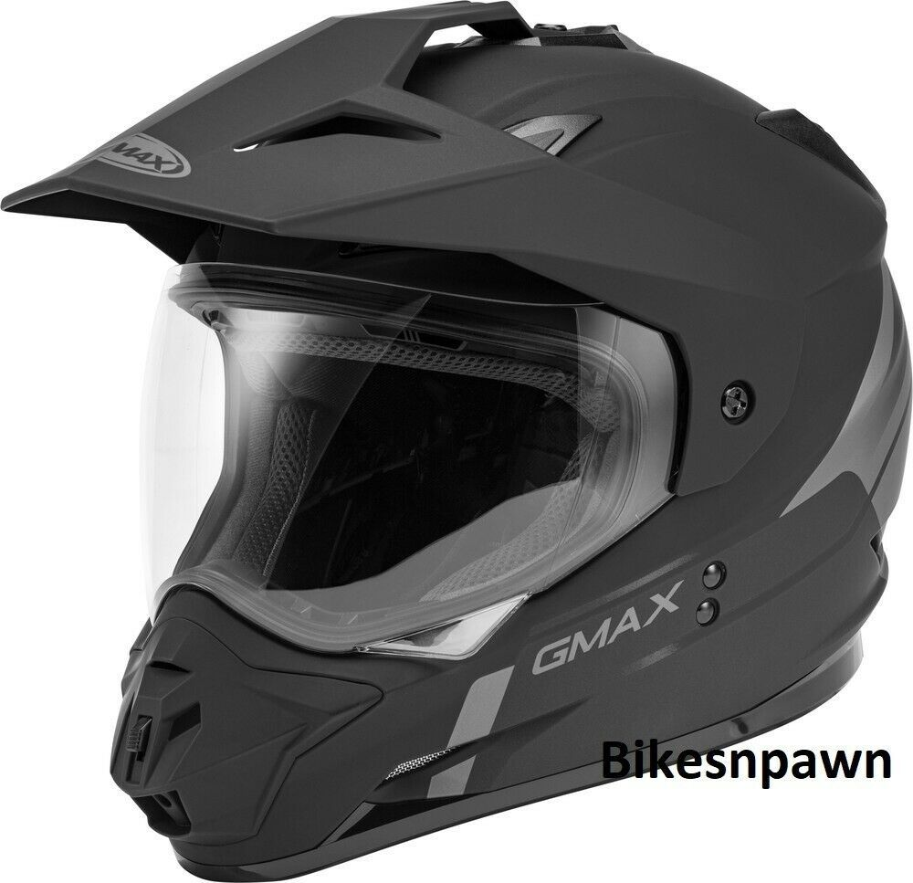 New L GMax GM-11 Scud Matt Black/Gray Dual Sport Adventure Helmet DOT