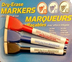 Dry-Erase Markers with Built-In Eraser. 3 per pack - $7.83