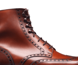 Maroon Red Color Full Brogue Toe Wing Tip Vintage Leather Lace Up Ankle Boots image 4