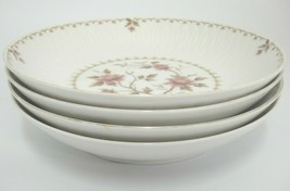 "Sango Montaigne Lot of 4 Coupe Soup Bowls ink Flowers Gilded Edge 7-5/8"" - $19.79"