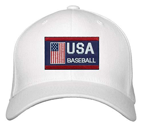 USA Baseball Hat - Adjustable White Cap