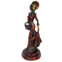 Aakrati Lady With Basket Metal Brass Home Decoration Sculpture Red - $119.99