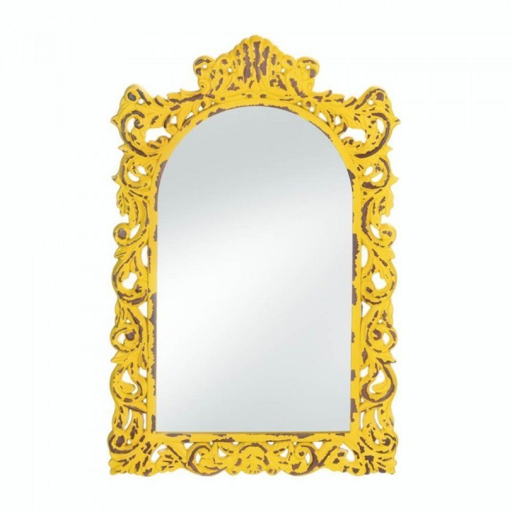 Distressed Yellow Framed Wall Mirror Wood Arched Accent Art Chic Shabby
