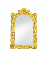 Distressed Yellow Framed Wall Mirror Wood Arched Accent Art Chic Shabby - $55.55