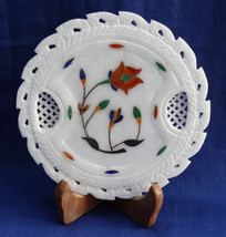 """6"""" Marble Plate Pietra Dura Work Inlaid Handmade Hakik Floral Home Decor Gifts - $39.99"""