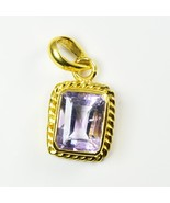 Pretty Amethyst Gold Plated Pendant 3 Carat Purple Stone Jewelry Necklac... - $22.57