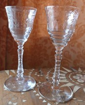 """2 Toasting Vintage Deco Clear Crystal Etched Floral Flowers Wine Champagne 6"""" H - $34.99"""
