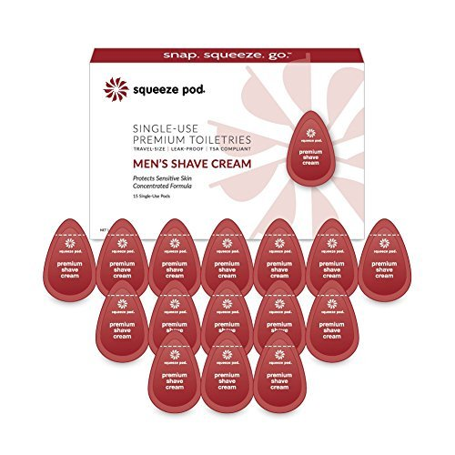Squeeze Pod Travel Shaving Cream for Men - 15 Single Use Pods – For Sensitive Sk
