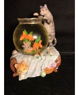 Vintage Music Box Fugurine Cat In Fish Bowl - $24.74