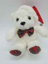 "Christmas Bear Bowtie & Hat Stuffed Plush 6"" Tall While Sitting Shenon Intern'l - $9.75"