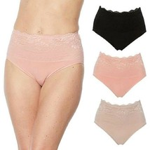 Rhonda Shear 3 pack Cotton Blend Ahh Panty with Lace Overlay 3X - $16.82