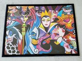 Disney Villains Jigsaw Puzzle Complete & Framed Cruella Ursula Evil Queen Scar - $99.00