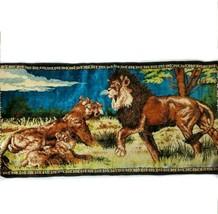 Mid Century Velvet Wall Hanging Rug Jungle Lion Retro MCM Tapestry Vintage  - $54.45