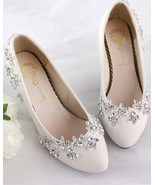 Women's Ivory Wedding Shoes,Crystal Wedding Shoes,White bridal shoes fla... - £32.10 GBP