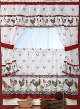 """3 Pc. Curtains Tailored Cottage Set (57""""x36"""") Roosters,Top Of The Morning, Achim - $22.76"""